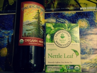 The pesticides used on grapes are some scary stuff. Those pesticides don't magically go away when you put the grapes in another form. Organic wine helps you to avoid all of that toxic garbage and does not use sulfates (preservatives in wine). Sulfates irritate the GI tract lining. Plus, organic wine just flat out taste better. Nettle tea has done WONDERS for my allergies this winter. Studies have show that nettle tea help alleviate the severity of seasonal allergies and supports kidney health